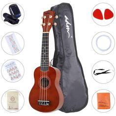 Ukulele Soprano Wood Economic Starter Pack with Gig bag, Tuner, Fingerboard Sticker, Chord card, Brown Ukulele Song, Ukelele Soprano, Kits For Kids, Cool Guitar, Acoustic Guitar, Musical Instruments, Musicals, Start Pack, Brown