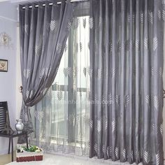 cheap grey curtains with Embroidery and Jacquard Living Room Curtain. Best for living room and bedroom. Living Room Decor Curtains, Shabby Chic Curtains, Home Curtains, Living Room Windows, Curtains With Blinds, New Living Room, My New Room, Bedroom Decor, Window Curtains