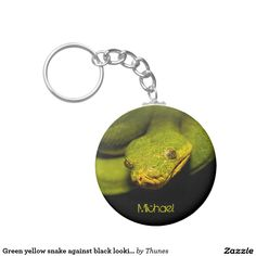Green yellow snake against black looking at you basic round button keychain