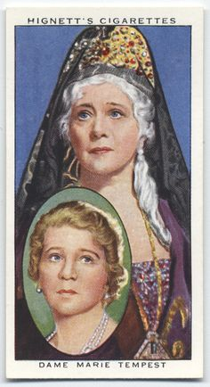 """Dame Marie Tempest as Empress Elizabeth in """"Little Catherine"""" - Hignett's Cigarettes, """"Actors Natural & Character Studies"""" (series of 50 cards) from The New York Public Library Digital Collections."""