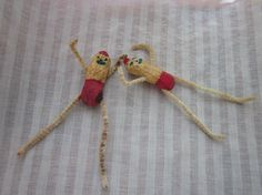 Vintage Hand Made Weird Peanut Figures Chenille Stems and Peanuts - Little Elves?   MendozamVintage, $2.99