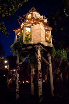 Really cool night time pic of treehouse
