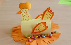 We love Toilet Paper Roll crafts for kids, so when we came across this Easter Chicken, we just had to share it with you!    Craft supplies you will need:    	Toilet paper roll  	Orange and yellow construction paper  	Orange markers  	Glue  	Scissors  	Tape    Craft instructions:    Have