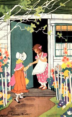 Lovely Janet Laura Scott. AT Her Friend's Door. VINTAGE Illustration. Deco Digital Download. Vintage Janet Laura Scott Print.