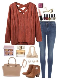 """""""6 1/2 hour drive tomorrow... Yippee """" by lbkatie17 ❤ liked on Polyvore featuring 7 For All Mankind, Free People, Michael Kors, Givenchy, MAC Cosmetics and Hoola"""
