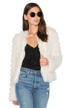 Greylin Natalie Faux Fur Jacket in Ivory