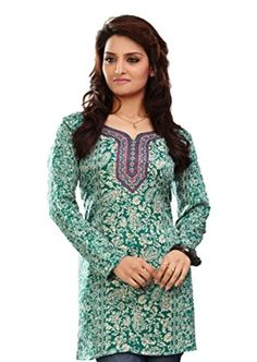 Indian Tunic Top Womens / Kurti Printed Blouse tops - AZDKJD-EX04AG Arras Creations http://www.amazon.com/dp/B00RR5OQPG/ref=cm_sw_r_pi_dp_9Zq2ub13FSHCZ