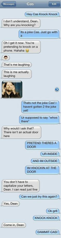 Ideas for funny supernatural jokes castiel Funny Texts Jokes, Text Jokes, Funny Text Fails, Stupid Funny Memes, Funny Relatable Memes, Hilarious Jokes, Funny Tweets, Stupid Texts, Funniest Jokes