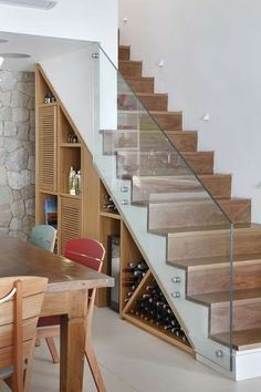 22 great idea design storage opportunities with stairs 7 Staircase Storage, Stair Storage, Staircase Design, Stair Design, Glass Stairs, Modern Stairs, House Stairs, Basement Stairs, Bars For Home
