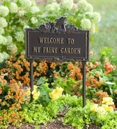 """Aluminum Fairy Garden Plaque With Ground Stakes reads """"Welcome to my Fairy Garden"""" with a fairy on top. A must have for fairy gardeners."""
