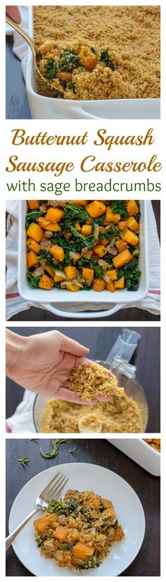 Healthy Butternut Squash Sausage Casserole with Sage Breadcrumbs