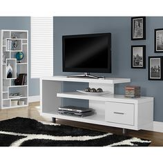 "Monarch TV Stand for TVs up to 60"" (I 2573) - White 							 							 							- Online Only"