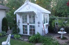 my freshly repainted potting shed