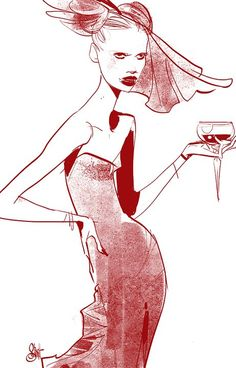 Otto Schmidt fashion illustration. LOL, looks like she's had a little too much wine. TG