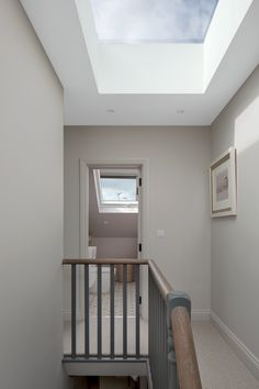A rooflight on the top of the stairs allows lots of light to enter the staircase void. Planning Applications, Roof Light, Side Wall, Facade, Architecture Design, Brick, Stairs, London, Interior Design