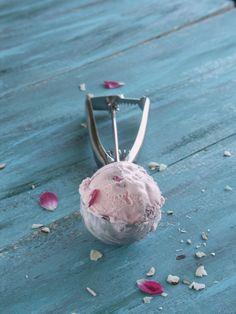 Rose Flavored Ice Cream with Rose Petals
