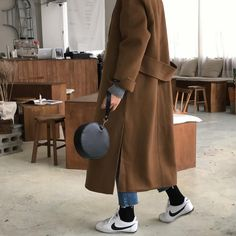 oversized coat with trainers outfit