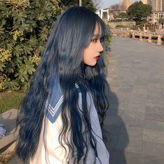 Dye My Hair, Long Curly Hair, Curly Hair Styles, Hair Inspo, Hair Inspiration, Dark Blue Hair, Long Layered Haircuts, Hair Again, Hair Dye Colors
