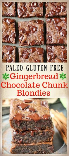 These Paleo Gingerbread Chocolate Chunk Blondies are sweet, perfectly spiced, chewy and so delicious! All the flavors of a gingerbread cookie with the convenience of a bar. Gluten free, dairy free, and naturally sweetened make them a healthier option. Paleo Dessert, Gluten Free Desserts, Healthy Desserts, Dessert Recipes, Healthy Sweets, Healthy Eating, Cookbook Recipes, Healthy Food, Paleo Recipes Easy