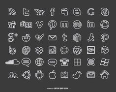Social media icons on a blackboard background in chalk style. Most big social network, internet and computer related companies. High quality JPG included.