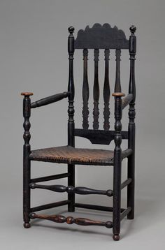 Coastal Connecticut, Banister-Back Great Chair, Wood, soft maple and white oak with wicker seat, ca. 1750–90