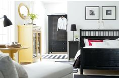 I like the bedroom layout. and the Black and White with Yellow accents.