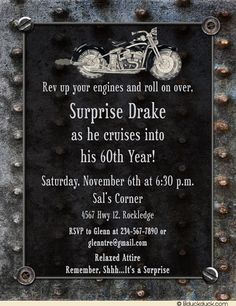 Classic black motorcycle, garage-style border, metal-like graphics add interest to motorcycle garage birthday invitation. To set the biker theme for party