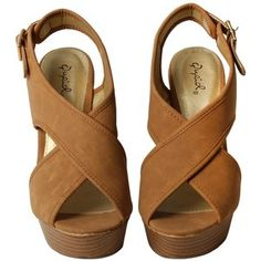 Camel Wedge Sandals.