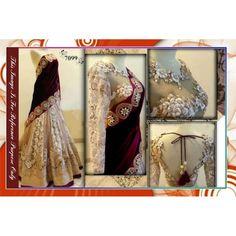 Bollywood Replica-Designer Off White & Maroon Heavy Embroidered Lehenga Choli-7099 ( SIA -S-7000 )