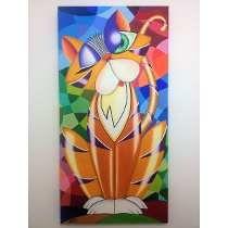 Pintura Abstrata Óleo Sobre Tela Gata Amarela - Frete Grátis