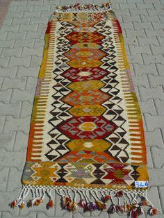 Turkish Kilim Hand Woven Rug Runner Carpet 78 by TurkishCraftsArts, $395.00