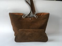 Shoulderbag made of dark brown suede