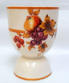 Fondeville Double Egg Cup Autumn Fruit Leaves Unknown Pattern England | eBay