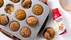 Cinnamon Banana Bread Muffins | Premier Protein Banana Protein Muffins, Banana Bread Muffins, Banana Bread Recipes, Jumbo Muffins, Protein Powder Recipes, Protein Shake Recipes, Protein Foods, High Protein, Cinnamon Banana Bread