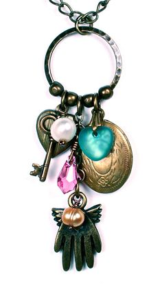 Antiqued brass heart charm necklace