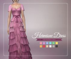 Hermione dress for The Sims 4 - Source by erdbee - Sims 4 Teen, Sims Four, Sims 4 Mm Cc, Sims 4 Mods Clothes, Sims 4 Clothing, Hermione Granger, Hermione Dress, Sims 4 Dresses, 1950s Dresses