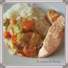 Saumon et légumes au boursin (Cookeo) Salmon and vegetables on the purse (Cookeo) Baked Chicken, Chicken Recipes, Bake Sale Packaging, Baking Soda Teeth, Chocolate No Bake Cookies, Healthy Snacks, Healthy Recipes, Boursin, Snack Recipes