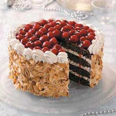 """Black Forest Chocolate Torte Recipe -If you're thinking about pulling out all the stops for a dessert that says """"wow,"""" look no further. Black Forest Torte Recipe, Black Forest Cheesecake, Black Forest Cake, Chocolate Torte, Chocolate Filling, Melting Chocolate, Cake Recipes, Dessert Recipes, Nutrition"""