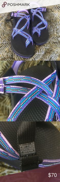 Women's Chaco sandals Never worn outside! Probably worn a max of 2 times in my house. I ended up going with another style and waited to long to return these. Size 9 , Danube purple chaco's. Paid $75 + shipping. Chaco Shoes Sandals
