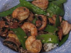 Ginger Shrimp and Pea Pod Stir Fry from Food.com:   This is a very quick and delicious meal. It was inspired by another web site chef quite some time ago, and became a family favorite.
