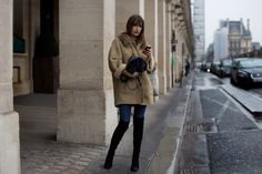 beige, boots, chillin, why do everyone elses' shearling coats look so nice and mine look like crap?, sartorialist