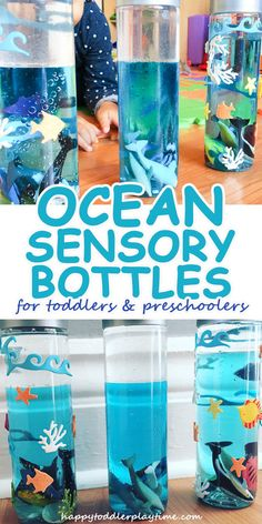 Ocean Sensory Bottle – HAPPY TODDLER PLAYTIME Create an Ocean in a Bottle with your toddler or preschooler in this fun sensory activity. This is a great activity to do with your little one and one they can play with during quiet time. Ocean Activities, Infant Activities, Preschool Activities, Young Toddler Activities, Beach Theme Preschool, Animal Activities For Kids, Summer Activities, Sensory Bottles For Toddlers, Sensory Bags