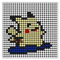 Pikachu Surf Perler Bead Pattern | Bead Sprites | Characters Fuse Bead Patterns