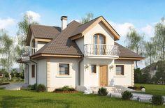 Dom jednorodzinny w stylu tradycyjnym z balkonami i dachem czterospadowym
