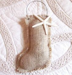 Image detail for -Burlap stocking ornament, holiday, christmas, handmade, starfish ...