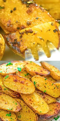 Made with oregano veggie broth garlic and lemon juice these Roasted Fingerling Potatoes are bursting with flavor They make a great side dish or a filling dinner Vegan fri. Side Dish Recipes, Vegetable Recipes, Vegetarian Recipes, Cooking Recipes, Healthy Recipes, Recipes Dinner, Vegetarian Appetizers, Veggie Food, Salad Recipes