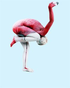 Like a flamingo...Painted models are human sculptures