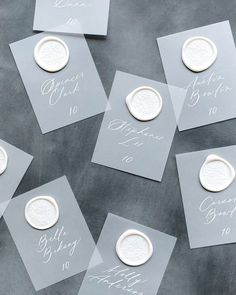 Since vellum is frosted, it's lighter than opaque paper and that means you can use white ink on it. Pair that with a wax seal (they're great for giving the cards a bit of weight so they're less likely to blow off a table) for an instant upgrade. Country Wedding Invitations, Wedding Stationary, Wedding Country, Wedding Favors, Party Invitations, Wedding Calligraphy, Calligraphy Cards, Modern Caligraphy, Co Working