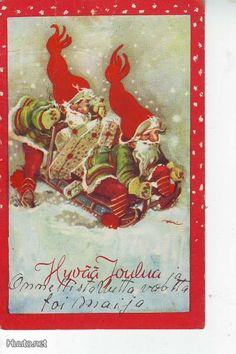 Eeli JAATINEN Vintage Christmas Cards, Christmas Wishes, Christmas Greetings, Vintage Cards, Ghost Of Christmas Past, Christmas And New Year, Girl Face Drawing, Baumgarten, New Year Postcard