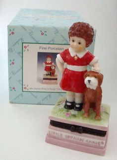 """Porcelain Hinged Box of """"Little Orphan Annie and her dog Sandy"""" - from Madame Alexander Dolls. Inside of the box says """"tomorrow, tomorrow, I'll love you... tomorrow"""""""